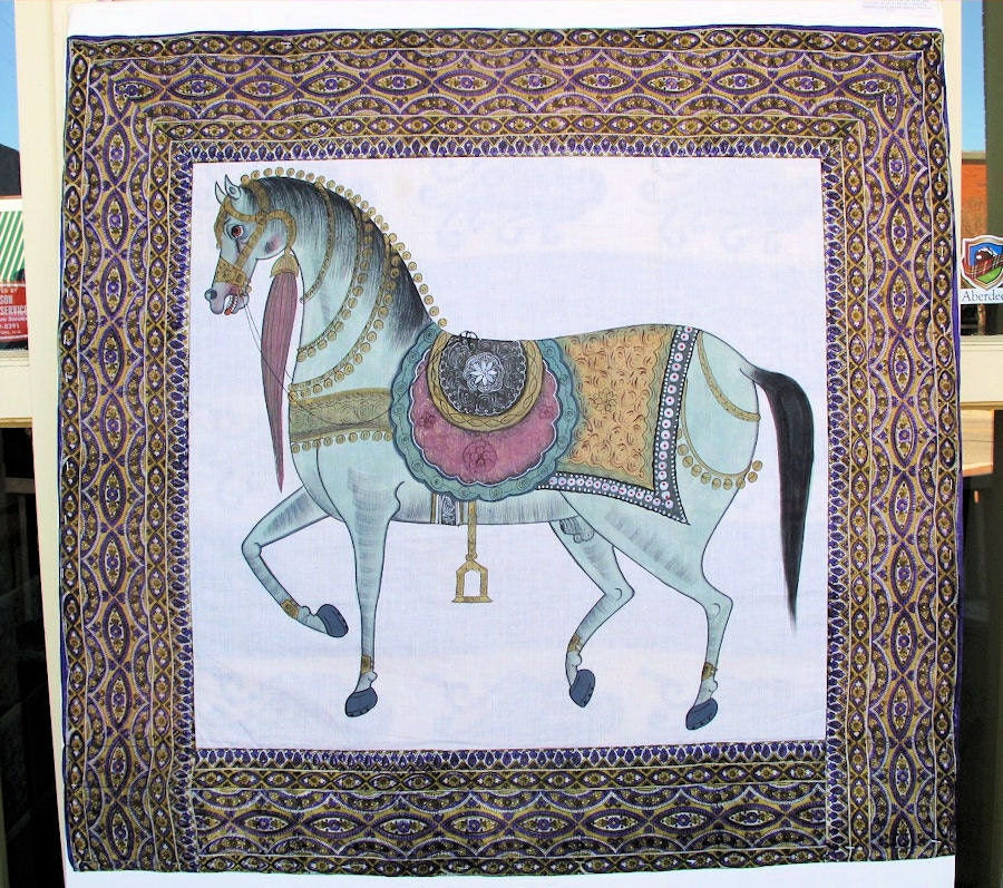 Arabian Horse Paintingwall Tapestry Wall Hanging Equine Art