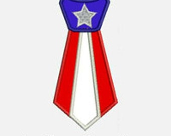 Flag Tie...Embroidery Applique Design...Three sizes for multiple hoops...Item1445...INSTANT DOWNLOAD