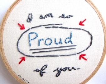 """Embroidered Wall Art """"I'm so Proud of you"""" Handmade In Blue, Grey and Red"""