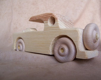 Toy Car 1956 T Bird Style Handmade from Recycled Wood for the Kids, Children, Boy, Girl