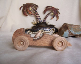 Mini Road Racer Car Handmade from Reclaimed Mesquite Wood, for Kids, Children