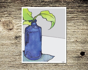 Cobalt Blue Bottle Plant Still Life Ink and Watercolor Green Grey Fine Art Print