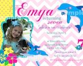 Dolphin Invitation Photo Birthday Party Printable Pink Chevron Polka Dot Hibiscus flower summer Luau party
