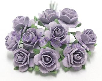 100  Light violet   Mulberry Paper Rose Flower handmade size 1 cm. ,scrapbooking card , wedding