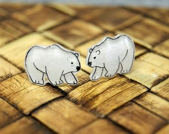 Polar Bear, Illustrated Hand-Made Stud Earrings