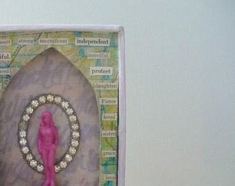 Assemblage art, shadow box art, unique art, mixed media art, 3d art, found object art, goddess art, inspirational art, gift for women