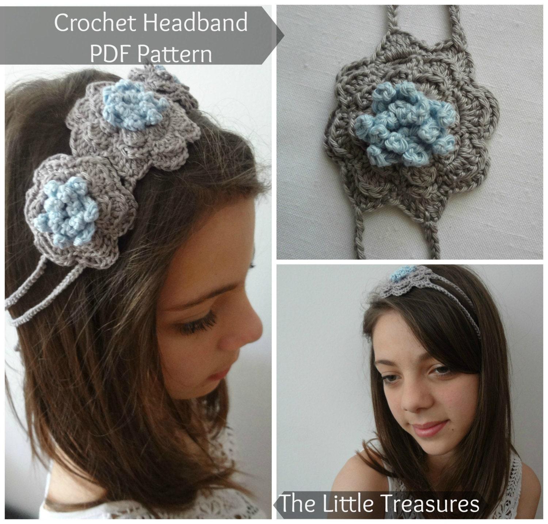 Crochet Headband With Flower Pattern Tutorial : PDF Crochet Pattern Crocheted Flower Headband crocheted