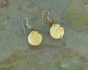 SALE: Fun FROG TOAD Carved Bone Golden Horn Sterling Silver Earrings