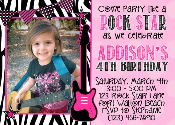 Rock Star Girl 5x7 Photo Birthday Party Invitation Printable by