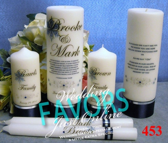 Unity Candle Set with Memorial Candle Personalized