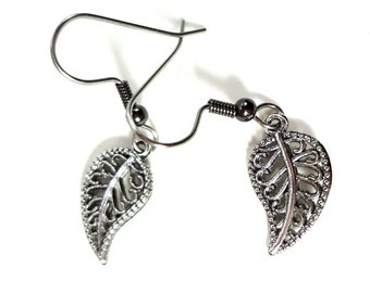 Pewter Toned Leaf Earrings on Surgical Hooks or Clip Ons
