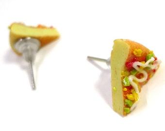 Miniature Food Pizza Earring Posts
