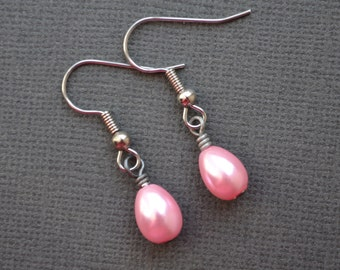 Pink Teardrop Pearls . Earrings
