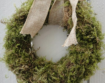Moss Wreath With Burlap Bow   Wedding Wreath    Saint Patrick's Day Wreath    Green Wreath   Moss Wreath  Hand Crafted Wreath