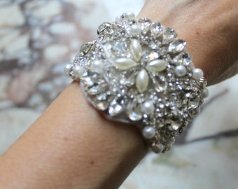 Bridal beaded pearl & crystal luxury couture wedding bracelet/cuff. DUCHESS PEARL