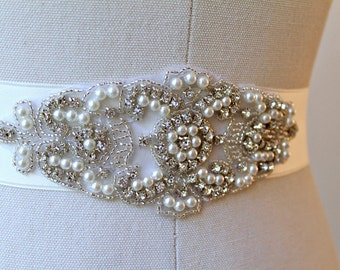 Bridal Crystal Sash. Pearl Rhinestone Applique Wedding Belt.  LEAH
