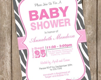 Girl Baby Shower Invitation Pink and Grey Zebra Baby Shower Invitation printable invitation 20130116-K1-5