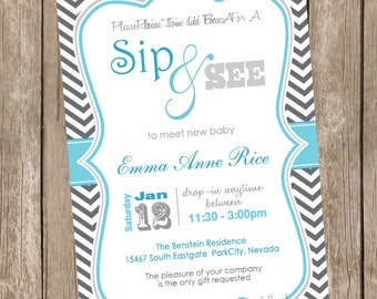 Sip and See Baby Shower Invitation Grey and Blue Chevron printable invitation 20121228-K1-1d