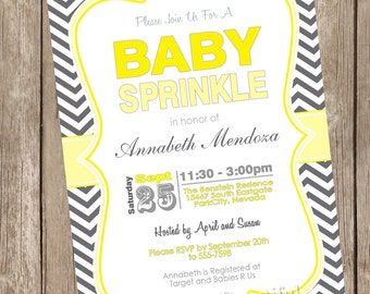 Sprinkle Baby Shower Invitation, yellow, gray, gray, chevron invitation, typography, neutral baby shower invitation, printable invitation