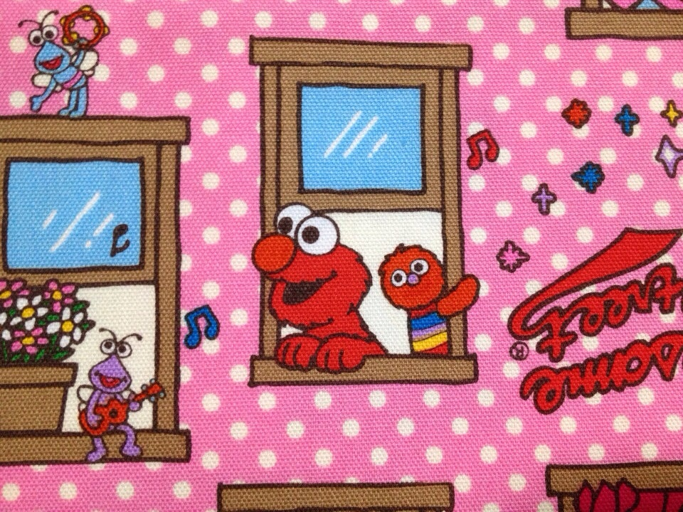 1 Yard Elmo Sesame Street Fabric Pink Color With White Dots