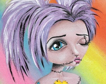 Big Eye Mixed Media Rainbow Art Giclee Print Signed Reproduction Raver Zombie by Lizzy Love [IMG#98]
