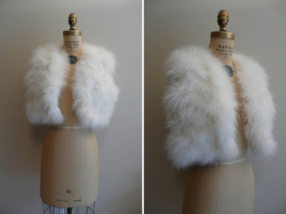 Vintage 1960s Vest 60s Ostrich Feather White Vest