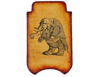 iPhone Leather Sleeve - Musical Elephant