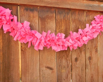 Pink Rag Garland, Shabby Bight Pink Rag Garland, Wedding, Party, Shower, Photo Prop, Home Decor