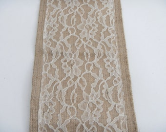 Burlap Table Runner with Lace, Wedding, Party, Home Decor, READY to SHIP, Custom Size Available