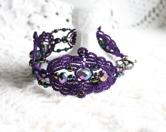 Purple Beaded Tatting Lace Cuff Bracelet