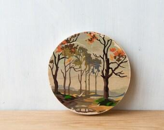Paint by Number Circle Art Block 'Autumn Drive' - fall landscape, rural trees, vintage art