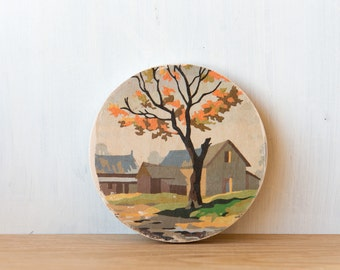 Paint by Number Circle Art Block 'Fall Barn' - autumn farm, rural landscape, vintage art