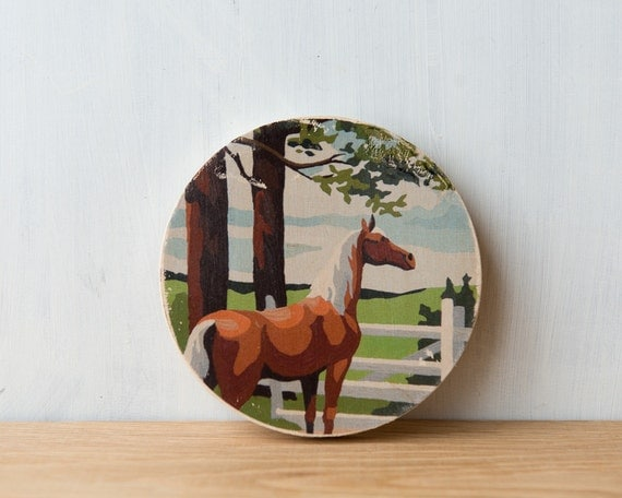 Paint by Number Circle Art Block 'Brown Horse' - ranch, horse farm, vintage art
