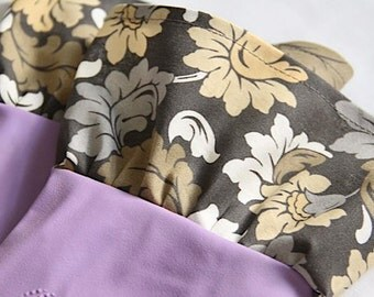Multi Neutral Damask Fabric Cuff - Fancy Ruffled Rubber Gloves - Cleaning Gloves - Dishwashing Gloves