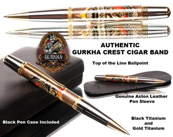 Cigar Band Ballpoint Pen / made with a real Gurkha cigar band . Great guy gift or for the cigar aficionado / leather  pen sleeve
