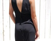 Reserved Vintage Open Back Button Up High Collar Little Black Dress Small Medium epsteam