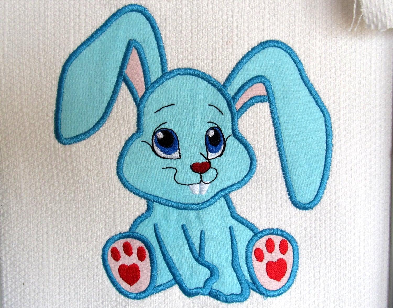 Cute bunny rabbit machine applique embroidery designs