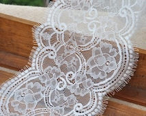 White Eyelash Lace Trim Floral Wave Soft Lace 6.2 Inches Wide 3.3 Yards