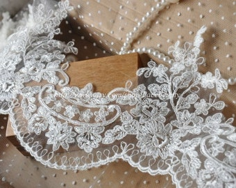 Off White Luxury Wedding Lace Trim Embroidered Retro Lace 6.8 Inches Wide 1 Yard