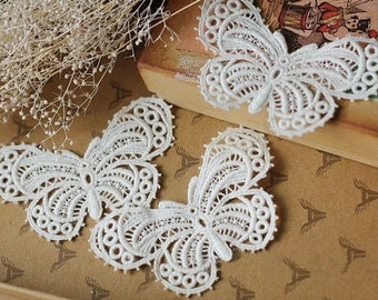 Vintage Butterfly Ivory Cotton Butterfly Lace Appliques For Purse Bag Costume Supplies 3pcs