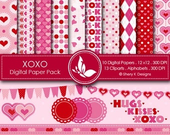 XOXO Paper Pack - 10 Printable Digital papers - 12 x12 - 300 DPI