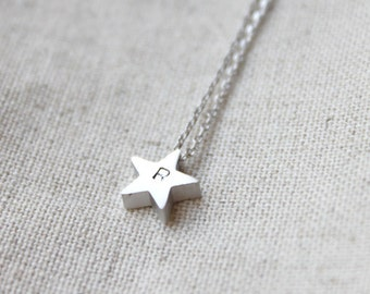 Personalized initial silver Star Necklace - S2300-2
