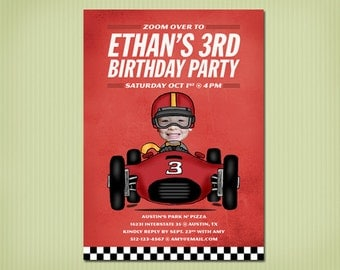 digital race car birthday invite