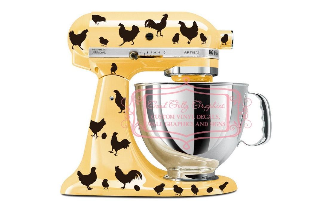 Kitchen Mixer Decals ~ Kitchen mixer vinyl decal set piece roosters hens