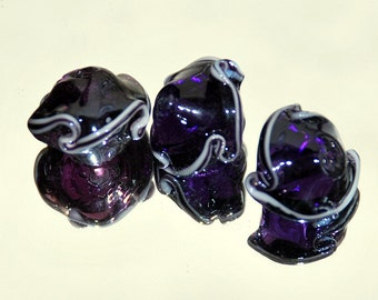 6 Handmade Lampwork Glass Beads - Purple with White Trimmed Skirt
