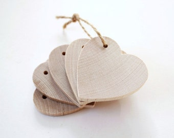 5 Wooden Heart Tags wedding tags wood heart tags wedding favor tags