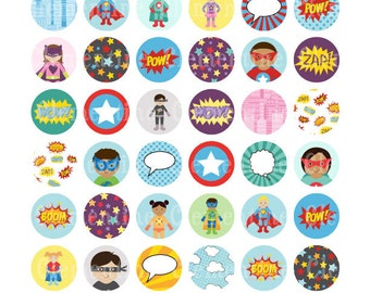 Superhero bottle cap images, bottlecap images, one inch circles, royalty-free, digital collage sheet- Instant Download