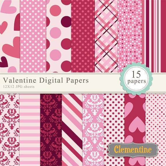 Valentine scrapbook paper 12x12 digital scrapbooking paper
