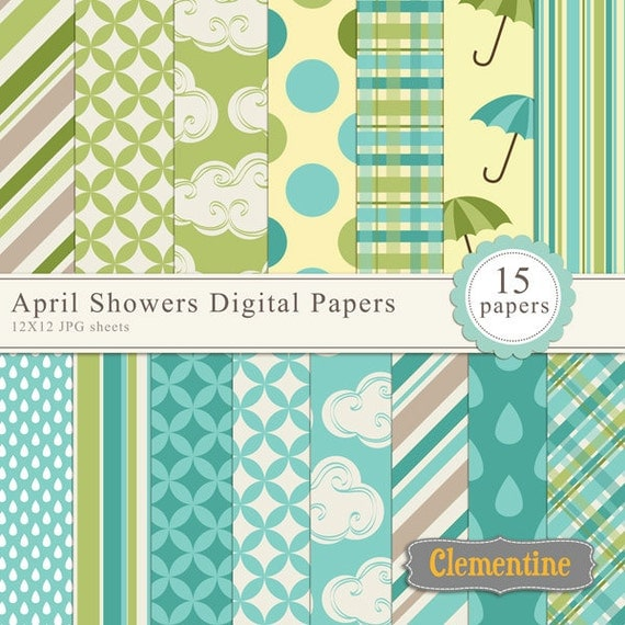 Spring scrapbook paper 12x12, digital scrapbooking paper ...