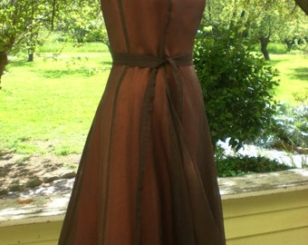 Ready to Ship Size 6 Vintage Inspired Coffee Brown Silk Bridal Dress, Bridesmaids, Formals, Farmhouse, Barn, Country, Weddings